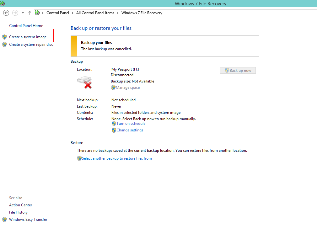 Windows 8 system backup