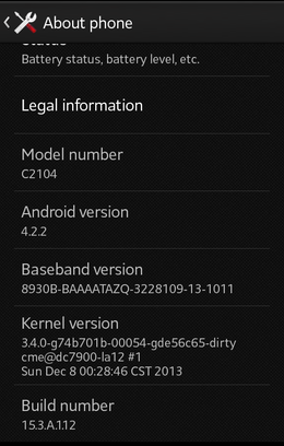 Jelly Bean 4.2.2 for xPeria L